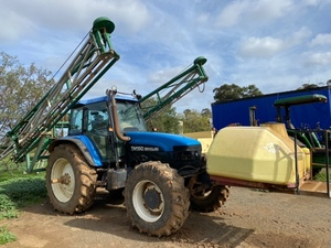 Under Auction - (A146) - New Holland TM 150 with Goldacres Sprayer - 2% + GST Buyers Premium On All Lots