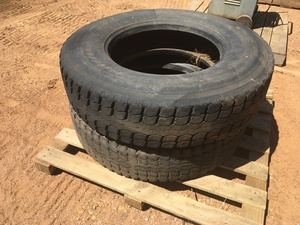 Under Auction - (A132) - 2 x 11r22.5 Tubeless Tyres - 2% + GST Buyers Premium On All Lots