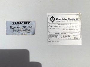 "Davey Submersible 8"" pump"