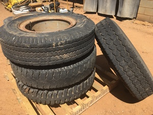 Under Auction - (A132) - 4 x 20 inch Split Rim Tyres 1000 - 2% + GST Buyers Premium On All Lots