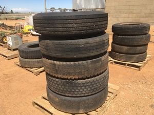 Under Auction - (A132) - 5 x 11r22.5 Tyres On Rims - 2% + GST Buyers Premium On All Lots