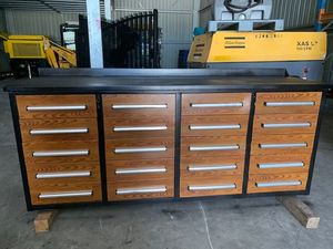 Under Auction - 20 Drawer Heavy Duty Steel Tool Bench - 2% + GST Buyers Premium On All Lots