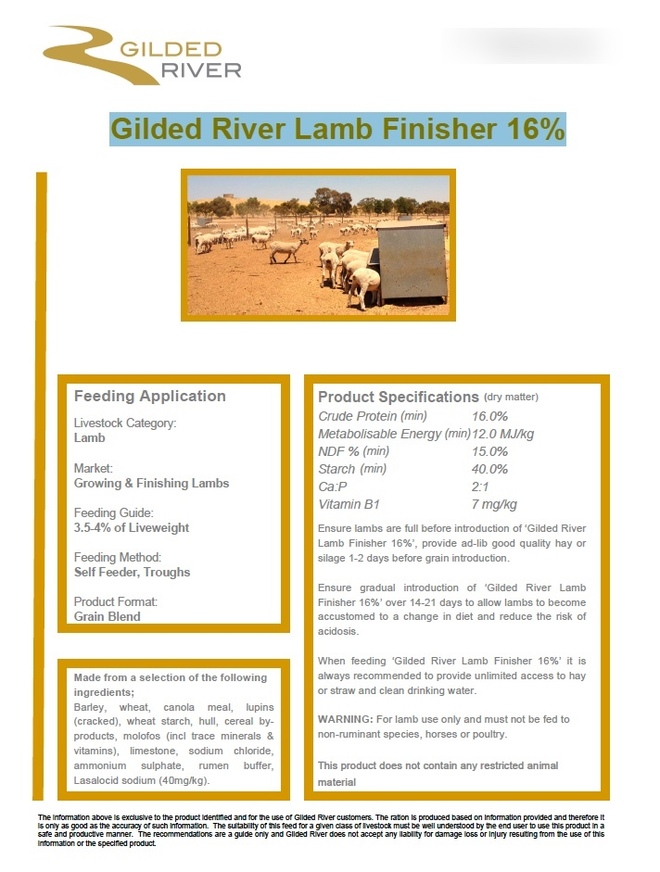 Gilded River Lamb Finisher 16%