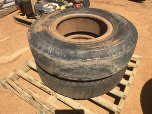 Under Auction - (A132) - 2 x 20 inch Split Rim Tyres 900 - 2% + GST Buyers Premium On All Lots