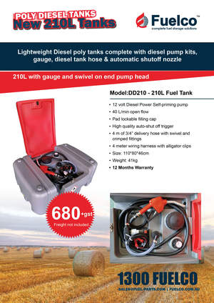 210 Litre HIgh quality Poly Diesel fuel tank