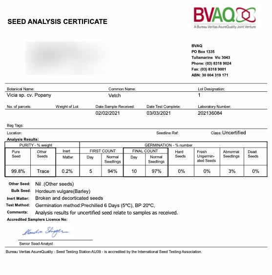 150mt Popany Vetch Seed