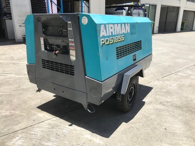 1x Airman PDS 185s cfm Diesel Screw Air Compressor on 2 Wheel Trailer Chassis