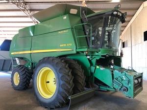 John Deere 9870 Harvester with  Tecfarm 50 cubic metre Chaff Cart