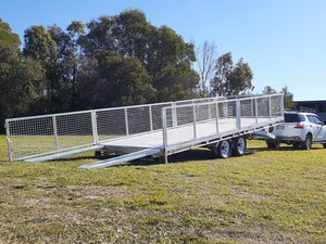 Hay Trailer Tandem & Tri Axle Models 14ft x 7ft 3.5ton Flat Top Hydraulic Tilt Hot Dipped Galvanized Trailer