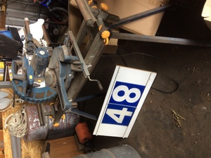 Under Auction - (A129) - GMC Sliding Drop Saw and Stand - 2% + GST Buyers Premium On All Lots